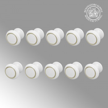 <PRE>10 Cabinet Knobs White Solid Brass Ball 1 Dia Enamel </PRE>zoom2