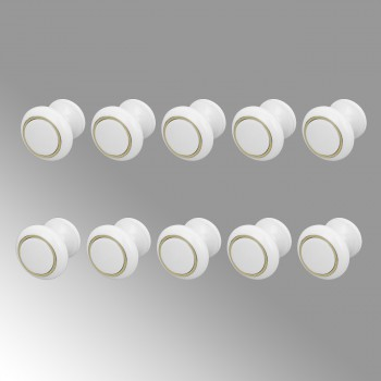 <PRE>10 Cabinet Knobs White Solid Brass Ball 1 Dia Enamel </PRE>zoom1