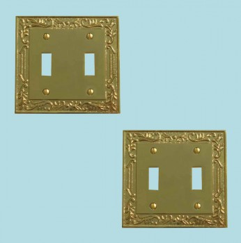 <PRE>2 Victorian Switch Plate Double Toggle PVD Solid Brass </PRE>zoom2