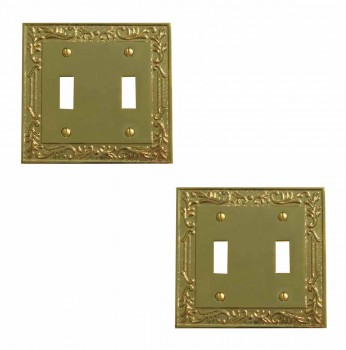 2 Victorian Switch Plate Double Toggle PVD Solid Brass