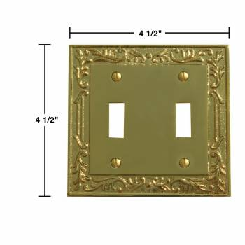 spec-<PRE>2 Victorian Switch Plate Double Toggle PVD Solid Brass </PRE>