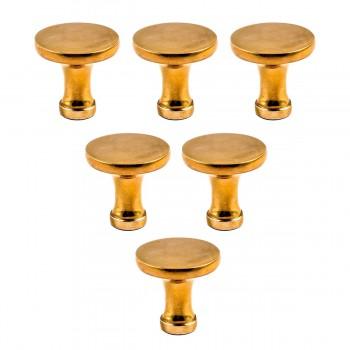 6 Cabinet Knob Bright Solid Brass Pedestal 1 1/4