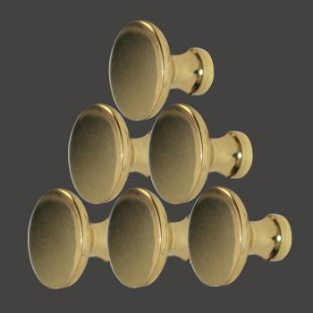 <PRE>6 Cabinet Knob Bright Solid Brass Traditional 1&quot; Dia </PRE>