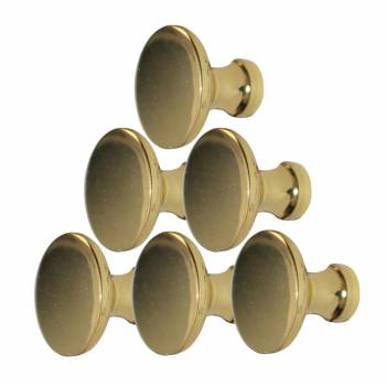 6 Bright Solid Brass 1 in. dia. Solid Brass Traditional Cabinet Knob