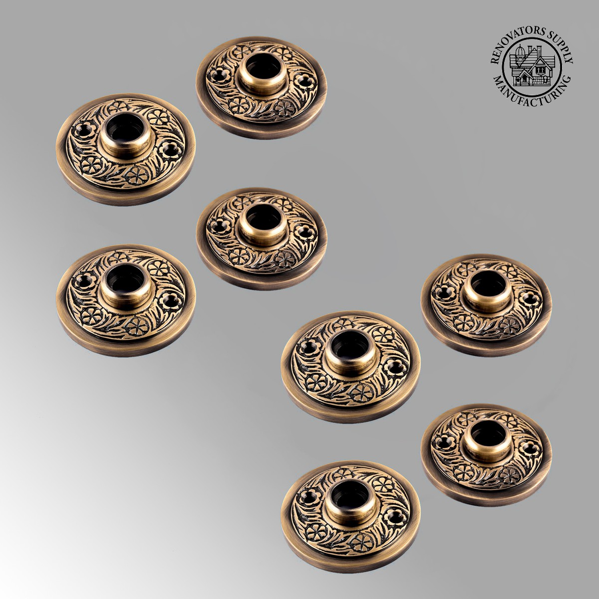 sc 1 th 225 & Brass Door Rosette Pairs Antique Trim Plate Tarnish Resist Pack of 4