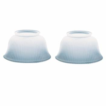 2 Lamp Shade White Glass Ribbed 3 5/8 in. H x 4 in. fit