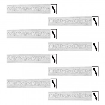 Renovators Supply Ornate Cornice White Urethane Sandoval Design 8 Pieces Totaling 683 Length White PrePrimed Urethane Crown Cornice Molding Cornice Crown Home Depot Ekena Millwork Molding Wall Ceiling Corner Cornice Crown Cove Molding