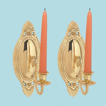2 Wall Sconces Bright Brass Candle Holders Set of 2 Brass Wall Sconce Vintage Wall Sconce Victorian Antique Wall Sconce