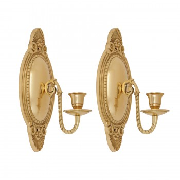 2 Wall Sconces Bright Brass Candle Holders Set of 2