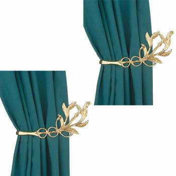 Vintage Pair Vine Curtain Tie Back Holder Bright Brass Pack of 2