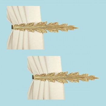 <PRE>2 Vintage Pair Curtain Tie Back Holder Fern Leaf Bright Brass </PRE>zoom2