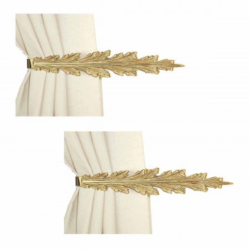 <PRE>2 Vintage Pair Curtain Tie Back Holder Fern Leaf Bright Brass </PRE>zoom1