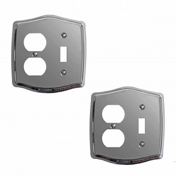2 Switchplate Chrome ToggleOutlet Switch Plate Wall Plates Switch Plates