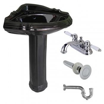 Black Oval Corner Pedestal Sink Vitreous Gloss with 4