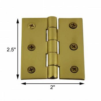 spec-<PRE>Cabinet Hinge Square Solid Brass  2&quot; x 2.5&quot; </PRE>