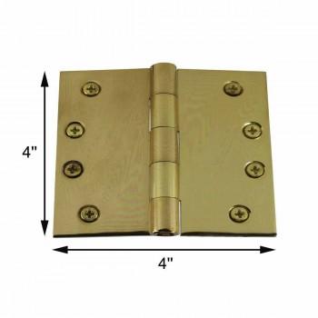 """spec-<PRE>Door Hinges Bright Solid Brass Square Hinge 4"""" x 4"""" </PRE>"""