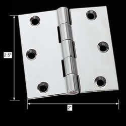 spec-<PRE>Cabinet Hinge Bright Chrome Solid Brass 2&quot; x 2.5&quot; </PRE>