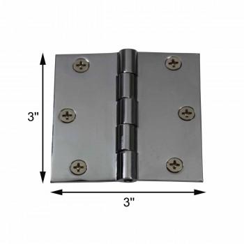 "spec-<PRE>Cabinet Hinges Chrome Solid Brass Square 3"" x 3"" </PRE>"