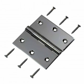 "<PRE>Door Hinges Bright Chrome Square Hinge 3.5inch x 3.5"" </PRE>zoom3"
