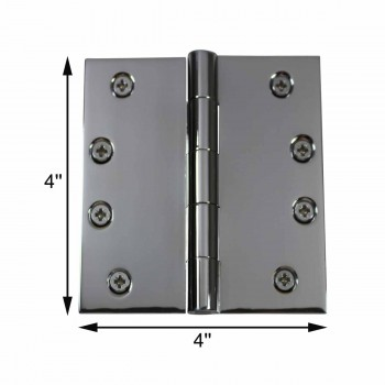 spec-<PRE>Door Hinges Bright Chrome Square Hinge 4&quot; x 4&quot; </PRE>