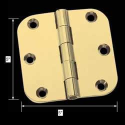 spec-<PRE>Door Hinges Bright Solid Brass Radius Hinge 5&quot; x 5&quot; </PRE>