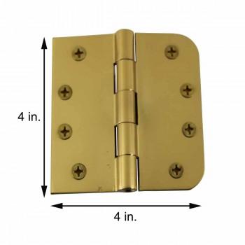 spec-<PRE>Door Hinges Bright Solid Brass Combo 4&quot; x 4&quot; </PRE>