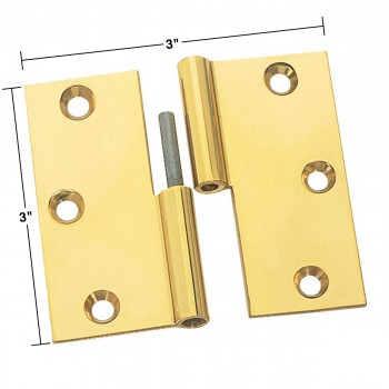 spec-<PRE>Cabinet Hinges Bright Solid Brass Square LOL 3&quot; x 3&quot; </PRE>