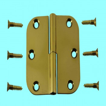 <PRE>Bright Solid Brass Radius, 3 x 3 LOL Hinge </PRE>zoom2