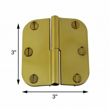 spec-<PRE>Bright Solid Brass Radius, 3 x 3 LOL Hinge </PRE>