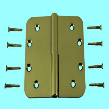 <PRE>5inch Lift Off Left Door Hinge Bright Solid Brass Radius </PRE>zoom2