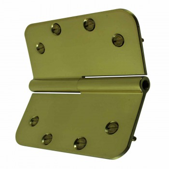 <PRE>5inch Lift Off Left Door Hinge Bright Solid Brass Radius </PRE>zoom5