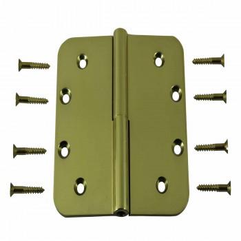 <PRE>5inch Lift Off Left Door Hinge Bright Solid Brass Radius </PRE>zoom1
