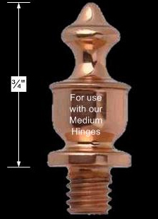 spec-<PRE>Door Hinges Bright Solid Brass Med Urn Hinge Finial Pair </PRE>