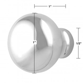 "spec-<PRE>Cabinet Knob Bright Chrome 1"" Dia Colonial </PRE>"