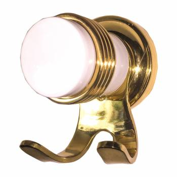 Spectrum Robe Hook White with Brass Flange and Accents