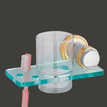 Glass Toothbrush Holder Wall Mounted Victorian Spectrum Brass Bracket Bath Accessories Toothbrush Holder Tooth Brush Holder