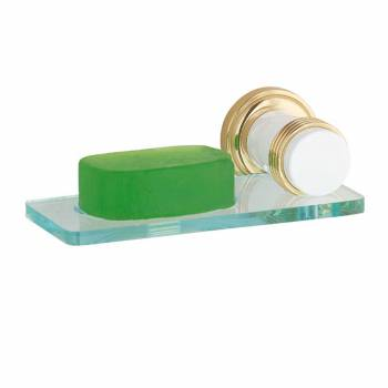 Spectrum Soap Holder White with Brass Flange and Accents