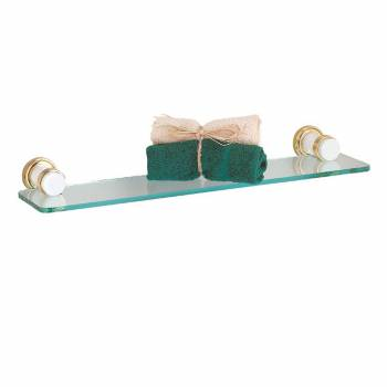 Spectrum Shelf White with Brass Flange and Accents Overall 19 in. W