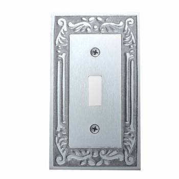 Victorian Switch Plate Single Toggle Chrome Solid Brass