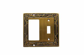Single Toggle Single GFI Switchplate Victorian Antique Brass