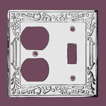 Victorian Switch Plate Double Outlet Chrome Solid Brass Switch Plate Wall Plates Switch Plates
