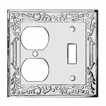 Victorian Switch Plate Double Outlet Chrome Solid Brass 92444grid