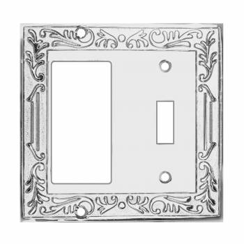 Victorian Switch Plate GFI Toggle Chrome Brass 92446grid