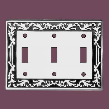 spec-<PRE>Victorian Switch Plate Triple Toggle Chrome Solid Brass </PRE>