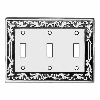 Victorian Switch Plate Triple Toggle Chrome Solid Brass 92449grid
