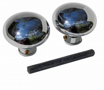 Pair Chrome Brass Rounded Door Knob 92510grid