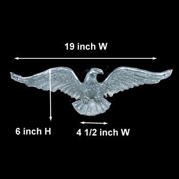 spec-<PRE>American Bald Eagle Chrome Solid Brass  6 Inch X 19 Inch</PRE>