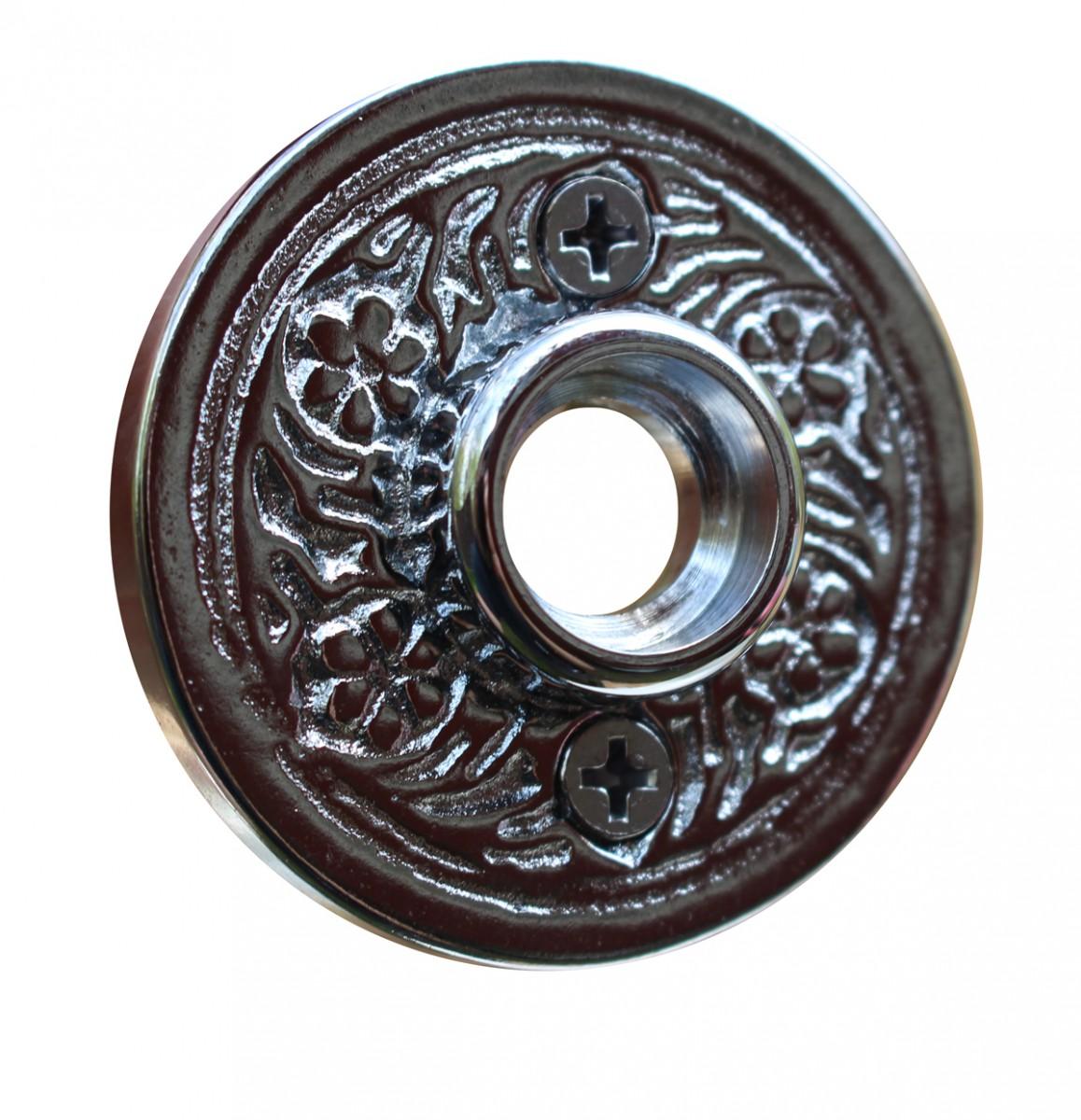 Pair 2 Victorian Cast Brass Rosette Chrome Door Hardware Door Knob Roses Door Knob Back Plates