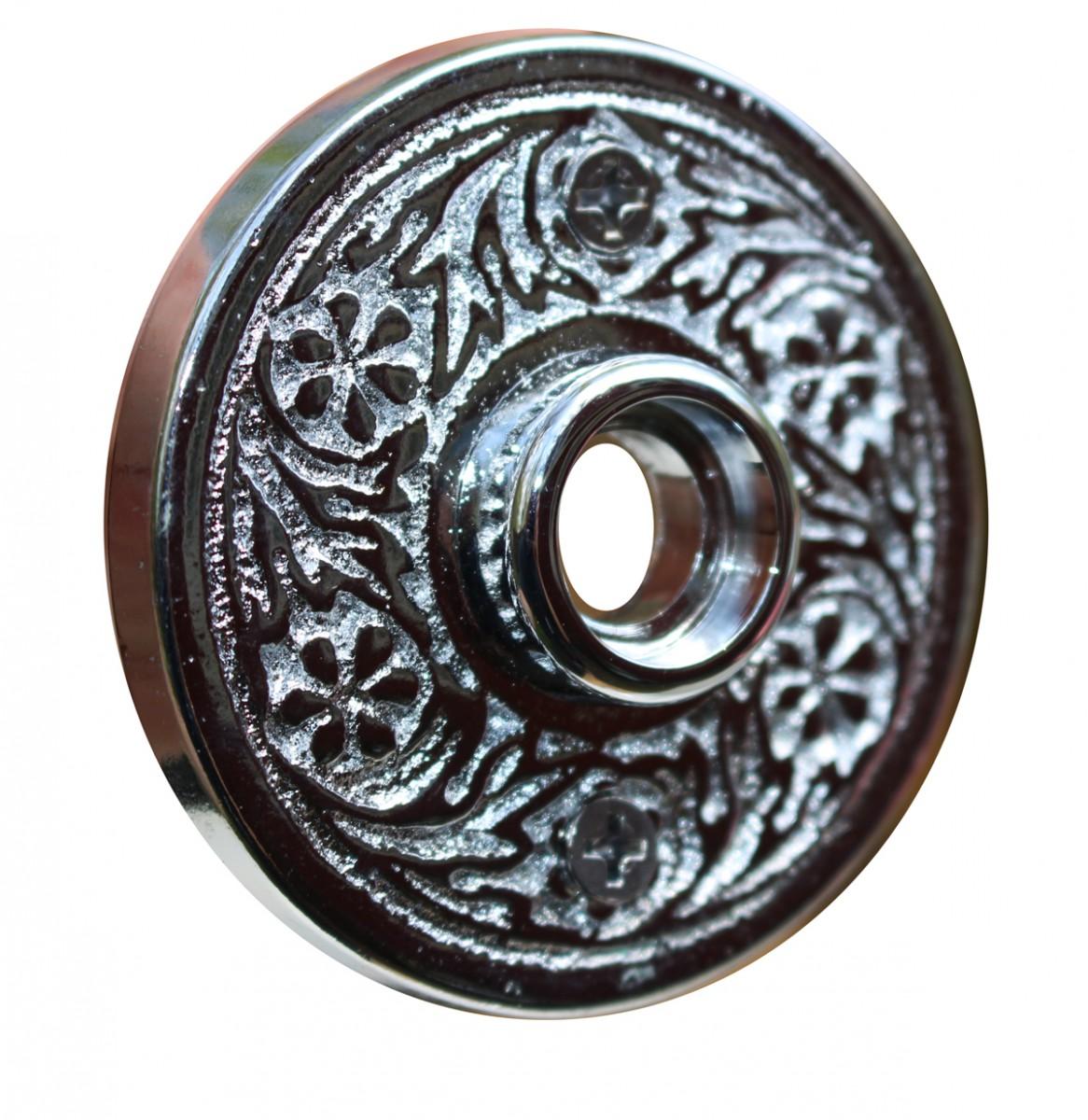 Pair 2 716 Victorian Cast Brass Rosette Chrome Door Hardware Door Knob Roses Door Knob Back Plates