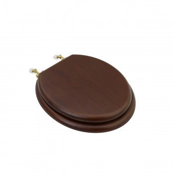 Round Toilet Seat Brass PVD Fittings Dark Oak Finish